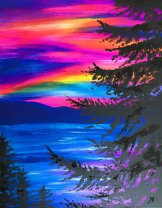 Lake Tahoe Sunset, rainbow sky beginner painting idea.