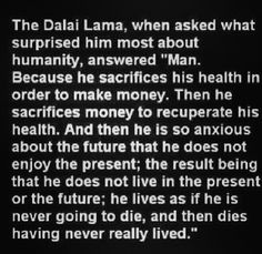 DALAI LAMA - Stop and ponder.