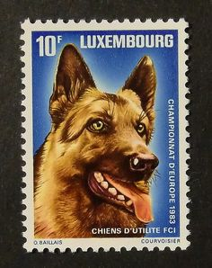 German Shepherd Dog . Postage stamp from Luxembourg 1983