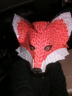Fox Mask. What does the fox say. OOAK Up-cycled Halloween mask. Hand made. Fun, animal, masquerade, colorful. creature costume.