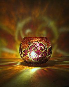 Celtic Votive Candle Holder - Red by bellekaX.deviantart.com on @deviantART
