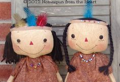 Primitive Pilgrims and Native Americans by CindysHomespun on Etsy