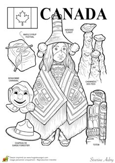 Canada paper doll to color Teaching Geography, World Geography, Canada, Colouring Pages, Coloring Books, Thematic Units, Thinking Day, Free Printable Coloring Pages, Kids Corner