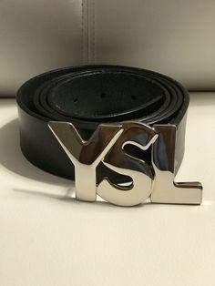813ec5b3a13f7 YSL Yves Saint Laurent Belt - Mens Black Italian Leather - Designer   fashion  clothing