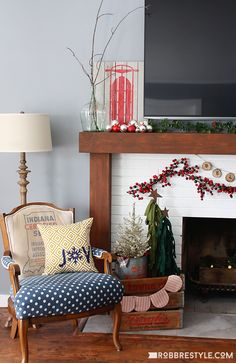 Easy tips and tricks for holiday decorating a fireplace with a TV above your mantle.