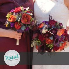 Bride and Bridesmaid's Bouquets by Fleurish Floral Design | Red Roses, Black…