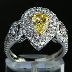 1.81 ct GIA Certified Pear Shape Fancy Yellow Center Diamond Engagement Ring $4680.00