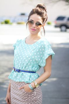 loving these Polka Dots on Gal Meets Glam Modest Fashion, Teen Fashion, Fashion Trends, Looks Style, Style Me, Blazers, Gal Meets Glam, My Escape, Spring Summer Fashion