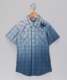 #zulily #fall Indigo Star Blue Plaid Button-Up - Boys