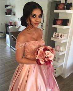 Elegant Lace Off Shoulder Pink Satin Wedding Dresses Ball Gowns