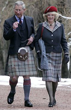 """Prince Charles (known as the Duke of Rothesay when in Scotland) & Camilla. The """"Balmoral Tartan"""" is the tartan worn by members of the British royal family. Reine Victoria, Camilla Duchess Of Cornwall, English Royal Family, Royal Uk, Camilla Parker Bowles, Men In Kilts, Celebrity Gallery, British Monarchy, Lady Diana"""