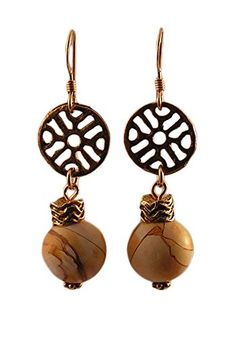 Tan and Brown Earrings - Brecciated Mookaite Stone by Randall V Designs