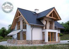 Projekty domów LK Projekt LK&1130 zdjęcie 1 Porch House Plans, Barn House Plans, Home Building Design, Home Design Plans, Simple House Design, Modern House Design, Modern Bungalow House, Village House Design, Design Exterior