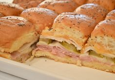 Crowd pleasing and super easy recipe for Ham and Cheese Sliders on King's Hawa. Crowd pleasing and super easy recipe for Ham and Cheese Sliders on King's Hawaiian Rolls. Hawaiian Roll Sandwiches, Rolled Sandwiches, Slider Sandwiches, Ham And Cheese Sliders Hawaiian, Fun Easy Recipes, Ham Recipes, Easy Meals, Cooking Recipes, Oven Recipes