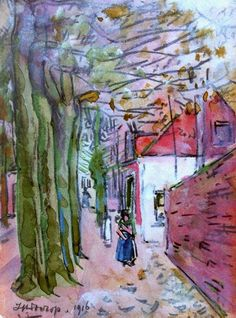 huariqueje:  The Noordstraat in Domburg - Johannes Theodorus 'Jan' Toorop 1916Dutch 1858-1928Black chalk and watercolour on paper,  15,8 x 11,3 cm