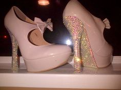 Vintage style heels with ab crystals