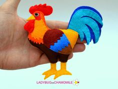 Cute miniature ROOSTER magnet made from colorful felt fabric. This stuffed felt Rooster is originally designed as a great home decor or adorable gift for your loved ones, educational for kids, fun for all ages. The Rooster can be made as a magnet, double sided toy or hanging