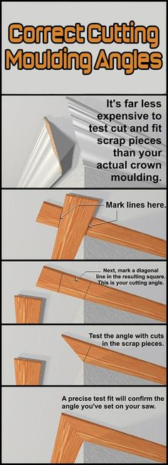 DIY Correct Cutting Moulding Angles is part of diy home decor Dollar Store Organization Ideas - When looking for the correct cutting angle for crown moulding, it's a lot cheaper to test fit and cut scrap lengths of sheet stock than to risk Home Improvement Projects, Home Projects, Farmhouse Side Table, Diy Home Repair, Moldings And Trim, Home Repairs, Home Renovation, Diy Furniture, Antique Furniture