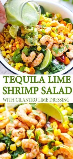 Fancy Salads, Dinner Salads, Summer Salads, Fancy Meals, Tequila Lime Shrimp, Cilantro Lime Shrimp, Seafood Recipes, Mexican Food Recipes, Seafood Appetizers