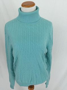 BENETTON teal blue 100% cashmere turtleneck Sweater Small S ...