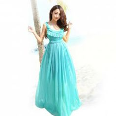 Ladylike Style Collarless Sleeveless Solid Color Chiffon Maxi Dress For Women