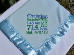 Personalized Baby Blanket Baby Boy Baby Gift Blue Embroidered Blanket by WorldClassEmbroidery, $37.99