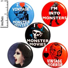 All designs © Outerspacebacon. Halloween Gift Bags, Halloween Party Favors, 31 Days Of Halloween, Funny Buttons, Cool Buttons, Jacket Pins, Vintage Horror, Cool Pins, Funny Pins