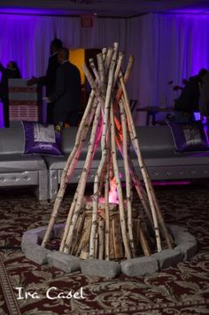 A fake bonfire was used as décor at this camp themed Bat Mitzvah celebration. Read more about this party at MitzvahMarket.com.