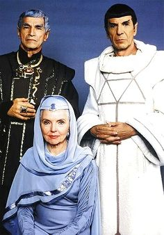 Spock with his mother Amanda and father Sarek.