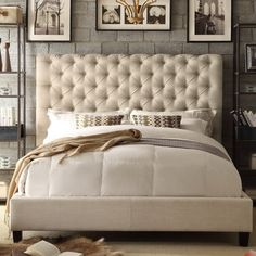 Rosevera Platform Bed Beige Calia Upholstered Panel, Queen 15 Master Bedroom Ideas for Small Rooms on a Budget - Style Spacez Upholstered Platform Bed, Upholstered Beds, Bed Upholstery, Tufted Bed Frame, Plataform Bed, Bedroom Furniture, Bedroom Decor, Bedroom Ideas, Furniture Sale
