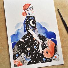 By Sibylline Meynet Bel Art, Art Du Croquis, Art Mignon, Creation Art, Arte Sketchbook, Art Et Illustration, Pretty Art, Love Art, Cool Drawings