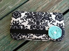 Vintage Black Damask with Blue Boutique by CrystalCreations108, $10.50