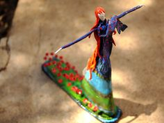 Art doll - air dry clay and mixed media - by red bird Art