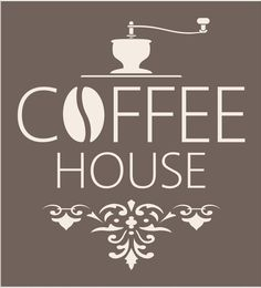 "COFFEE HOUSE- Reusable Stencil with Flourish- 15"" Tall  x13.5"" Wide- Create your own Coffee Signs!"