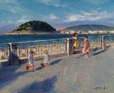 Ricardo Sanz – Volviendo de la playa Óleo sobre lienzo. 81×100 cms.