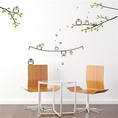 Owls Singing On a Tree Wall Stickers, Multi