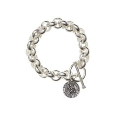Christopher Chunk Bracelet - Chunky bracelet featuring the Patron Saint of Travel, St. Christopher is a great totem for travellers and those who long to wander. Patron Saints, Guys And Girls, Sterling Silver Jewelry, Bracelets, Wander, Travel, Collection, Viajes, Trips