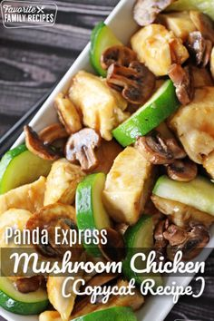 Panda Express Mushroom Chicken tastes even better than the restaurant's popular dish! Plus it's done faster than you can pick up take-out.This Panda Express Mushroom Chicken tastes even better than the res. Panda Express Mushroom Chicken, Chicken Mushroom Recipes, Chicken Recipes, Chicken Mushrooms Peppers Recipe, Chicken Mushroom Stir Fry, Mushroom Zucchini Recipe, Express Chicken, Recipe Chicken, Panda Express Recipes