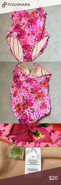 New Islander pink flower swimwear one piece New with out tags . Sz 16 . ❌Price firm Islander Swim One Pieces