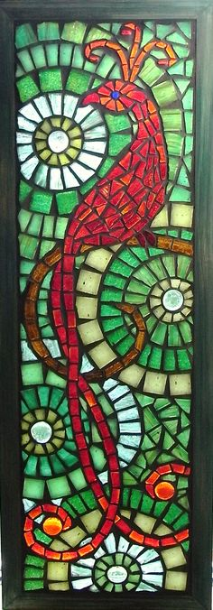 Scarlet Bird of Paradise - stained glass mosaic