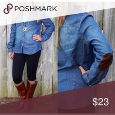 Chambray Denim Suede Elbow Patch Shirt S M  L Looks so great with leggings or a vest! Chambray denim top with faux suede elbow patches, buttons, 100% Cotton, last 2 pics are actual top.  Available in size Small, Medium, or Large.  No trades, price firm unless bundled.  BUNDLE 3 OR MORE ITEMS FOR 15% OFF!! Boutique Tops Button Down Shirts