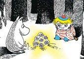 Muumi ja Tuutikki katselevat lumilyhtyä postikortti. 0,90€