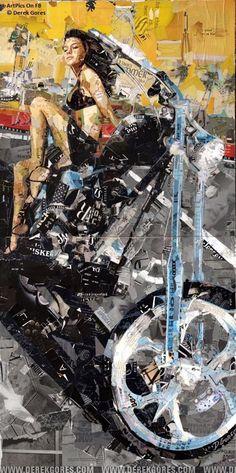 Art Prints: Collage Art by Derek Gores. idea for a quilt Collage Art Mixed Media, Collage Artwork, Collage Collage, Derek Gores, Collage Portrait, Portrait Paintings, Portraits, Surreal Collage, Motorcycle Art