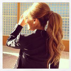 volume and wavy ponytail