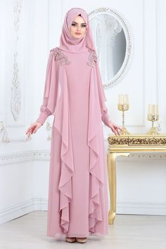 Nayla Collection - Shoulder Lace Baby Blue Hijab Evening Dress Nayla Collection, ABIYA DRESSES, 2018 New Season Hijab Evening Dress Collection Change is made. (Evening dress change of products) - Hijab Style Evening Dress Long, Hijab Evening Dress, Hijab Dress Party, Hijab Style Dress, Evening Dresses, Islamic Fashion, Muslim Fashion, Hijab Fashion, Fashion Dresses