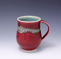 Wheelthrown Porcelain Mug with Red and Gold Glaze by by hsinchuen, $50.00
