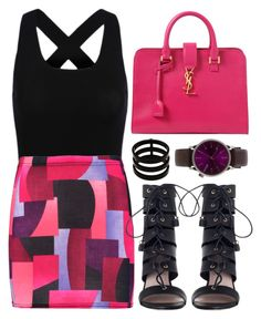 """""""Pink and Black"""" by jyfashion ❤ liked on Polyvore featuring Boohoo, Yves Saint Laurent, Zimmermann, Repossi, Komono, geometric and pinkandblack"""