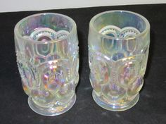 L E Smith Glass Moon & Star white carnival glass iridescent tumblers 1960's