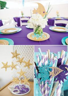 gold and purple mermaid or under the sea birthday party tablscape