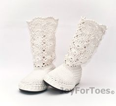Wedding Crochet Boots White Lace Boots Made to Order by JoyForToes shoes  #women  boho